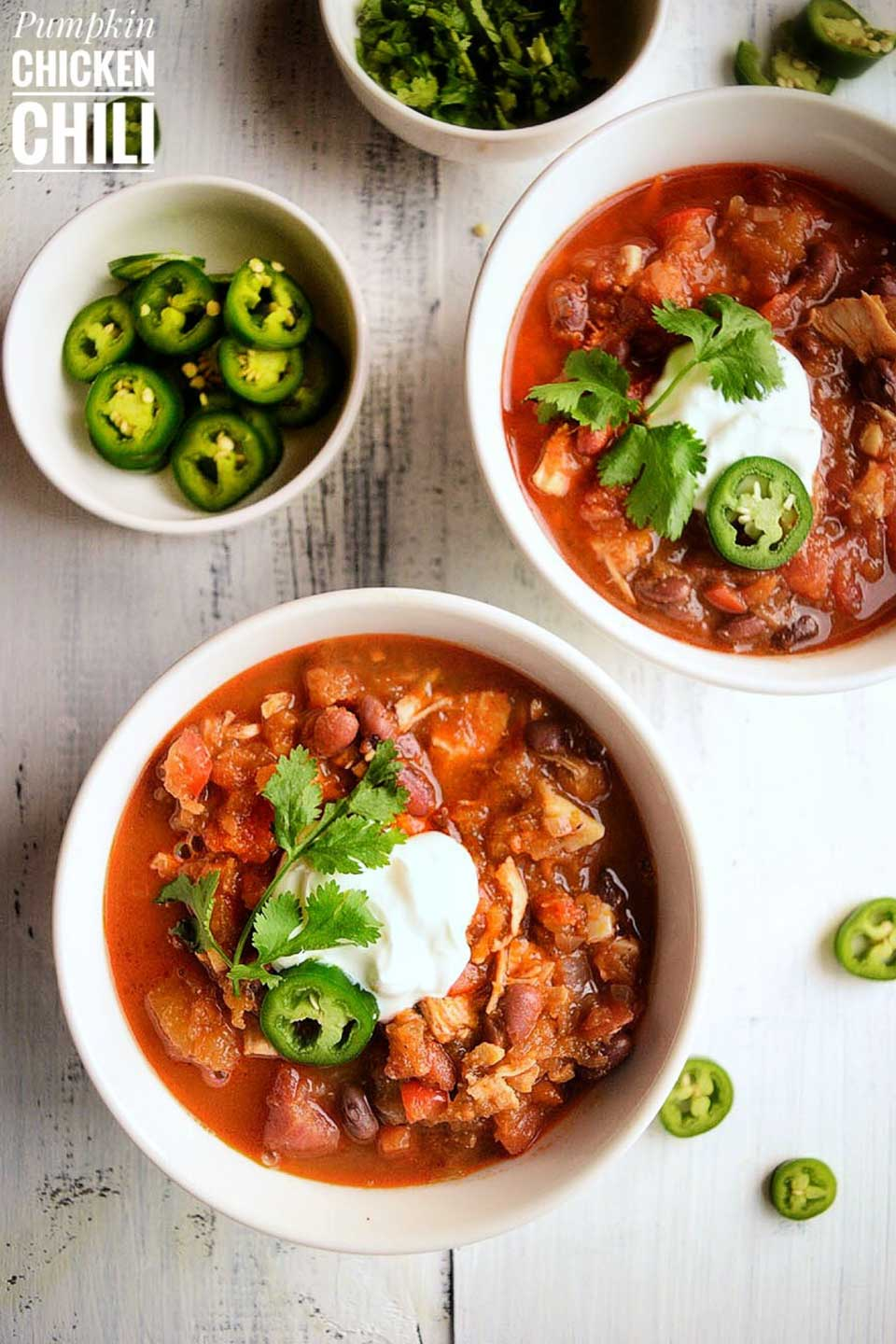 How terrific does this look: Pumpkin Chicken Chili from Swati at Let's Cook Healthy Tonight?!? Just one of 17 featured Instant Pot chilis!
