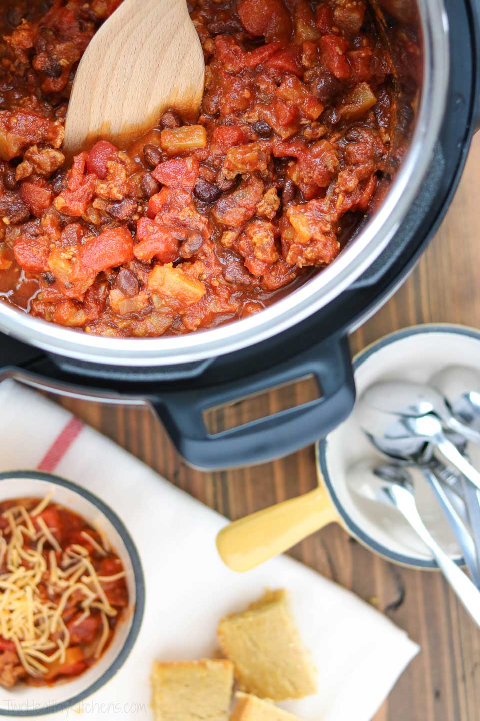 Instant Pots are great for making chili – and also soups and stews! But what else do you do with an Instant Pot? If you're wondering how to use an Instant Pot, and what all it can do … we've got lots of ideas to help you get the most out of your electric pressure cooker, and maybe even to help you decide if you should buy an Instant Pot in the first place! | #InstantPot #pressurecooker #pressurecooking #slowcooker | www.TwoHealthyKitchens.com