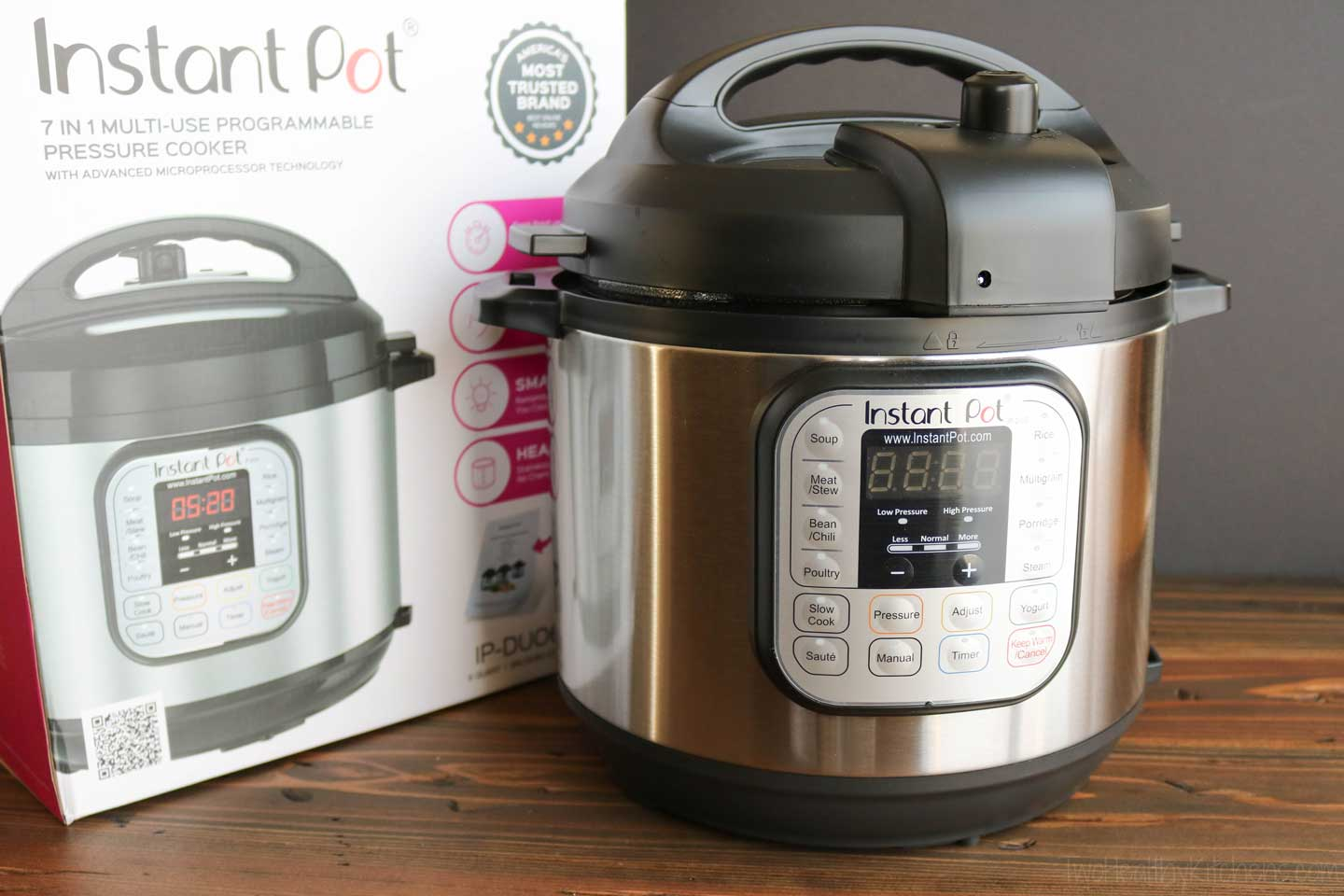 Instant Pot 7-in-1 model DUO60, displayed with box
