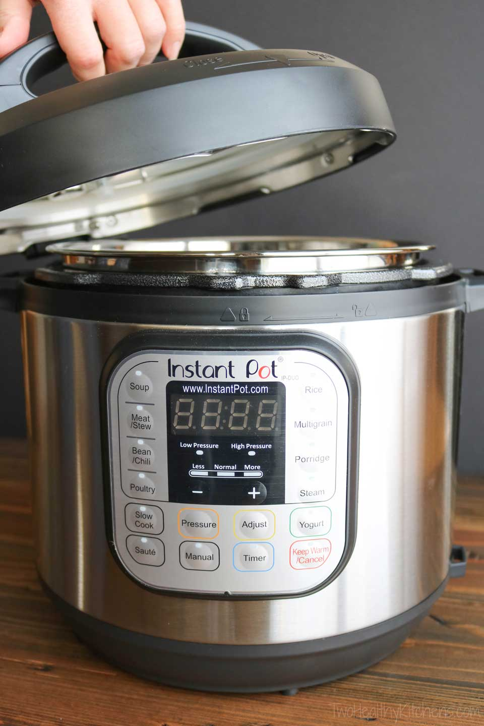 Instant Pot with lift being lifted off