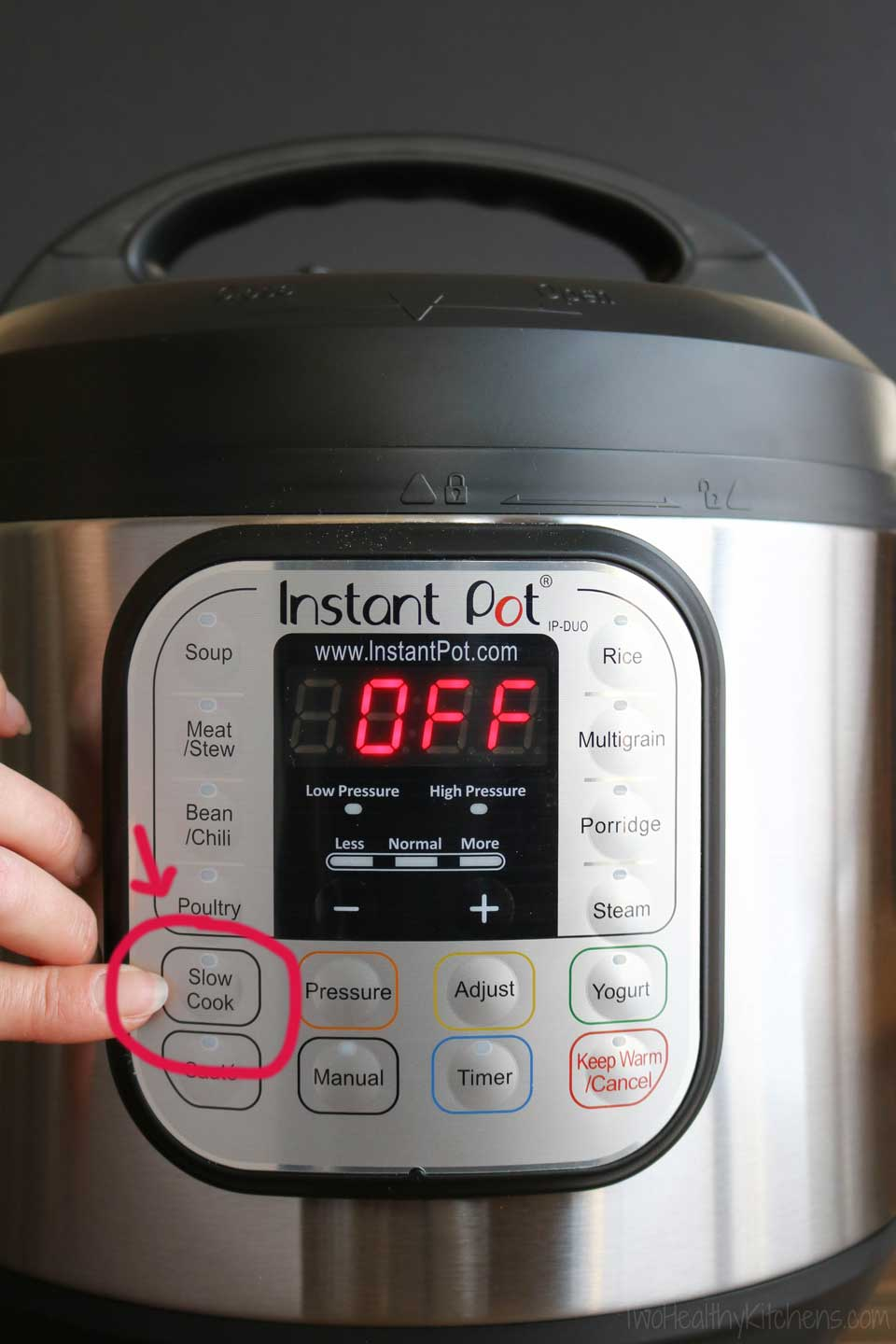 Instant Pot with circled slow cooker function button