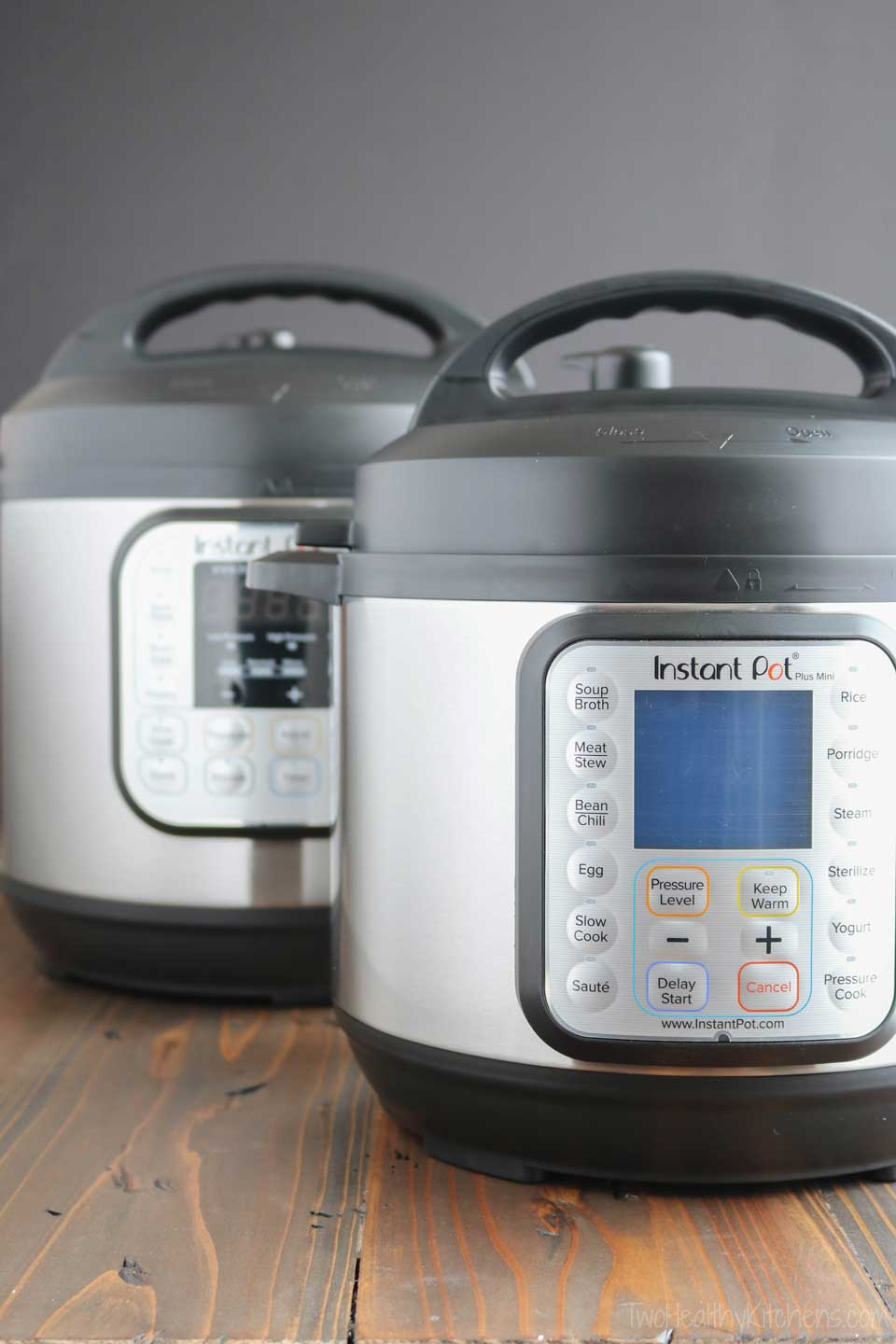 Which Instant Pot is the best for you and your family? Which one should you buy? There are so many options, functions, models and sizes to consider! The Instant Pot Duo Plus or the Ultra? The 6-quart or the Mini? We break it all down to help you decide which is right for you and your family, walking you through an Instant Pot buyer's guide that includes specific points you should consider before buying. | #InstantPot #pressurecooker #pressurecooking #buyingguide | www.TwoHealthyKitchens.com
