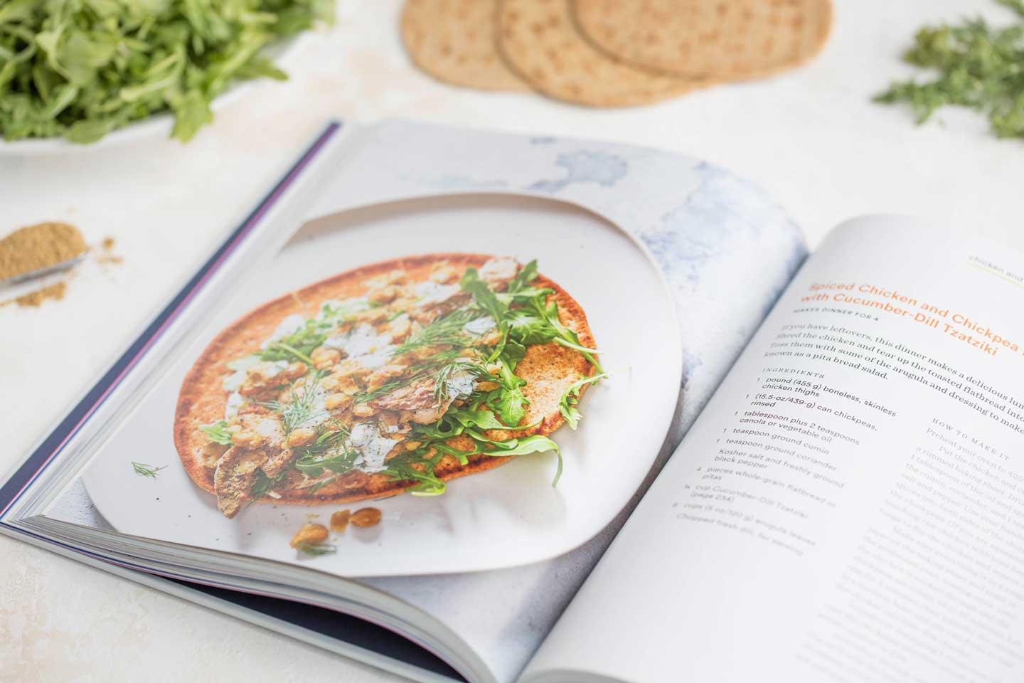 Besides the one pot, whole wheat pasta recipe I'm sharing with you on the blog today, another of the recipes we tried out of this gorgeous cookbook was this one, for Spiced Chicken and Chickpea Flatbreads with Cucumber-Dill Tzatziki.