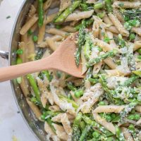 One-Pot Whole-Wheat Spring Pasta with Asparagus, Peas and Parmesan