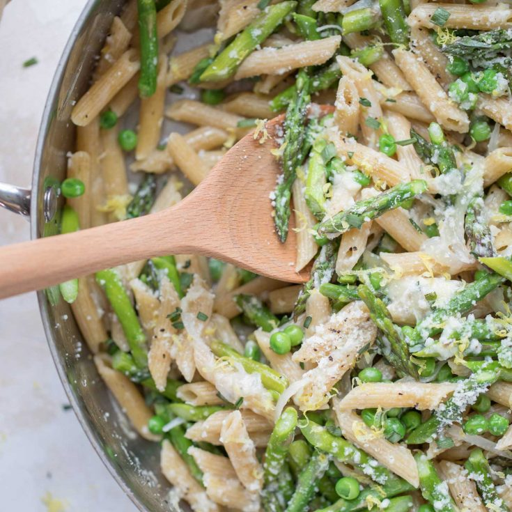 One Pot Whole Wheat Spring Pasta With Asparagus Peas And Parmesan Two Healthy Kitchens
