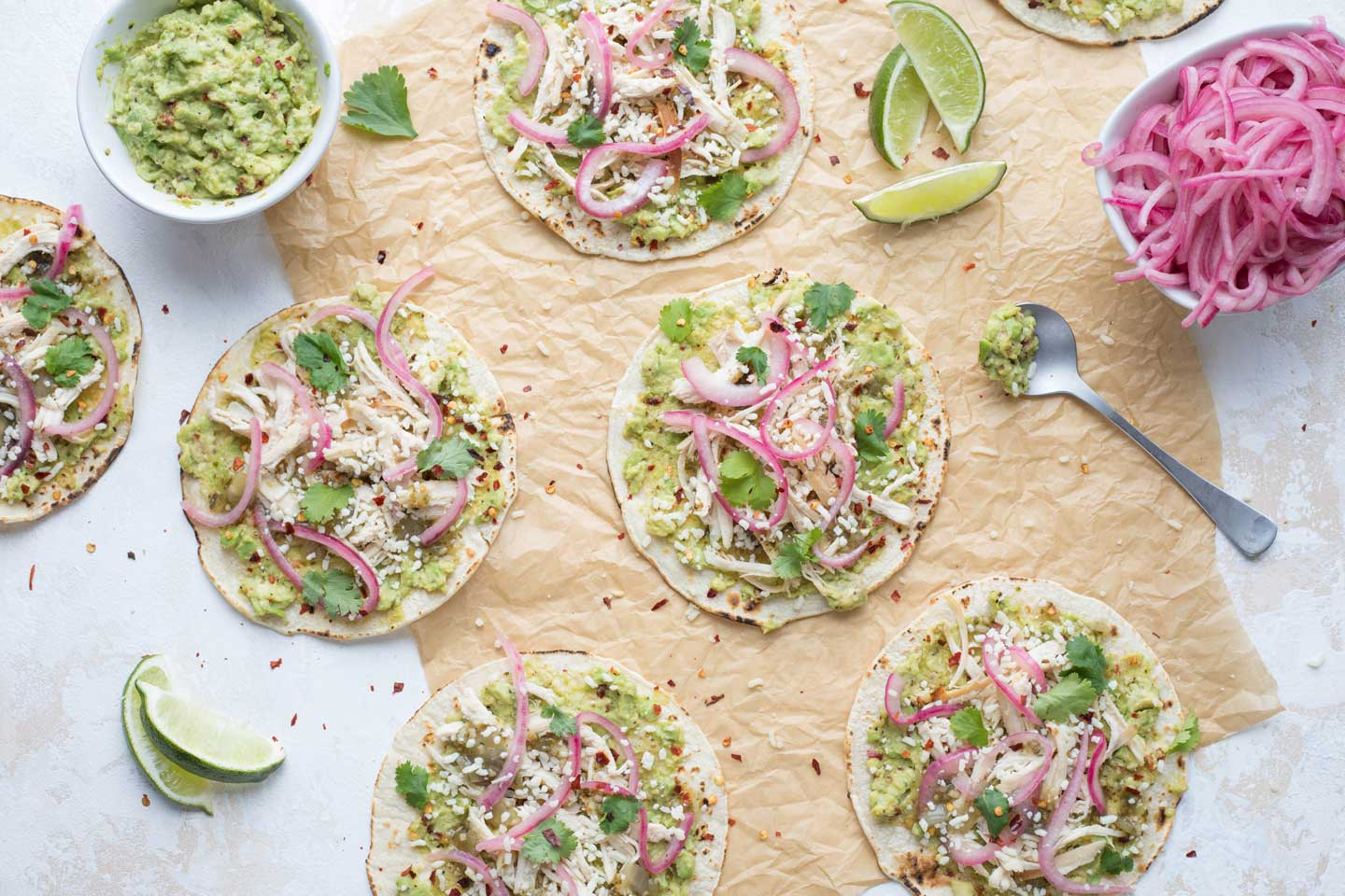 Looking for make-ahead meal recipes? The whole family will love these super-easy tacos. And you'll love how easy they are to make! You can even prep them completely ahead! Bonus: it all begins with a store-bought rotisserie chicken. How easy is that?!?!