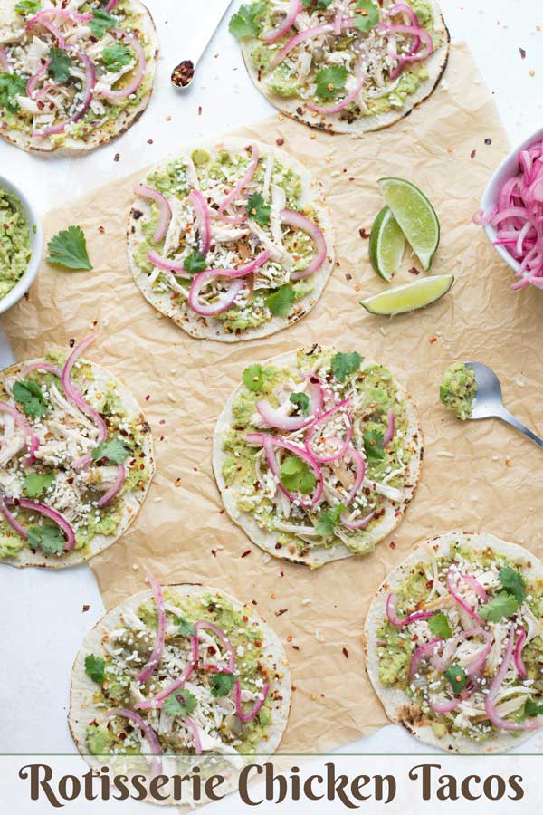 Easy, unique, make-ahead tacos! These Rotisserie Chicken Tacos have big, delicious flavors, but can be completely prepped ahead and assembled at the last minute on busy evenings! Switch up the salsa and cheese to create a fun taco bar for parties, tailgating, and Cinco de Mayo, or a fun Taco Tuesday dinner! Rotisserie chicken is an easy shortcut to a yummy chicken dinner recipe! #taco #tacos #TacoTuesday #mexicanrecipes #chickendinner #chickenrecipes #makeaheadmeals | www.TwoHealthyKitchens.com