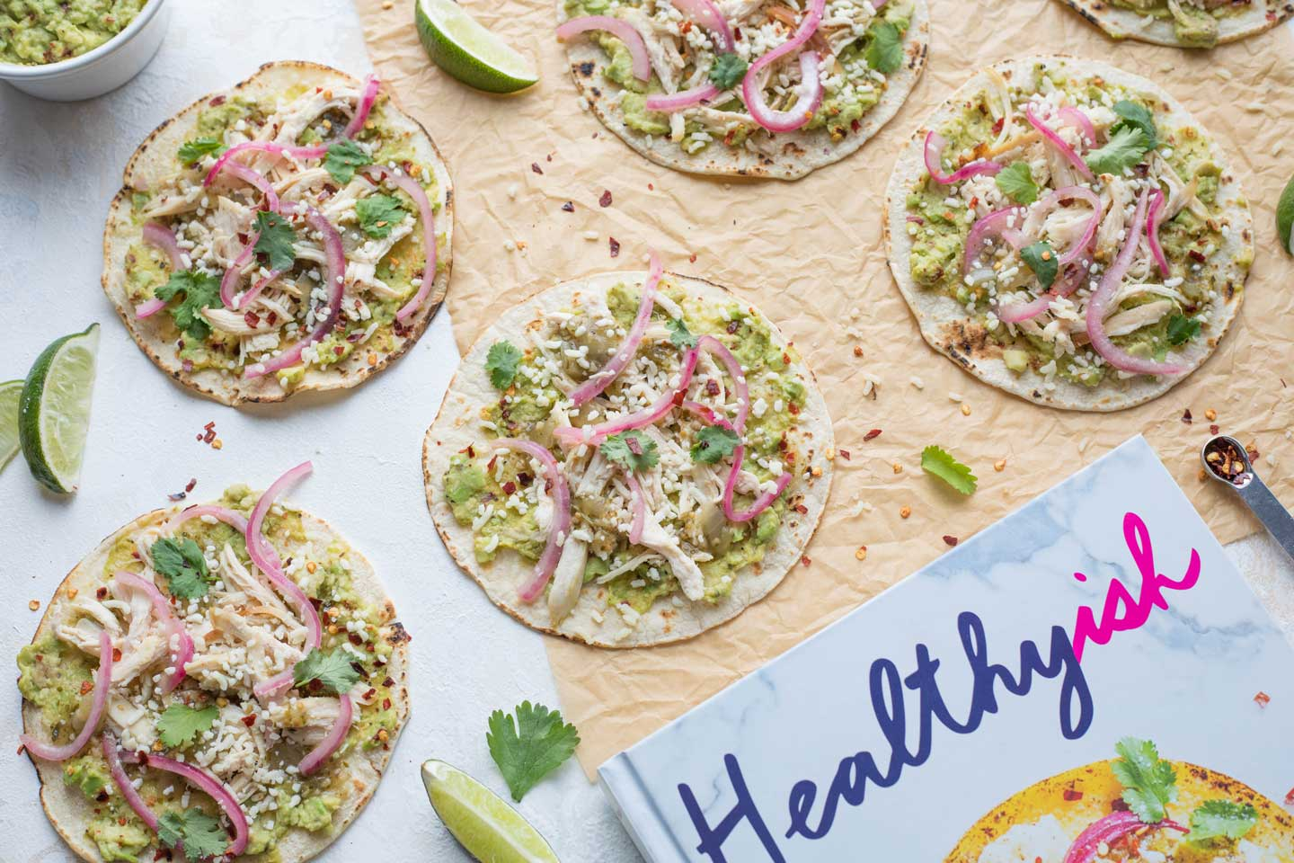 """Just one of the healthy chicken recipes featured in the cookbook """"Healthyish"""" – these tacos are a new favorite with our family! A delicious Cinco de Mayo recipe idea that you'll be making all year long!"""