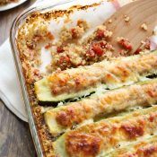 Stuffed Zucchini Boats Casserole with Italian Sausage and Quinoa