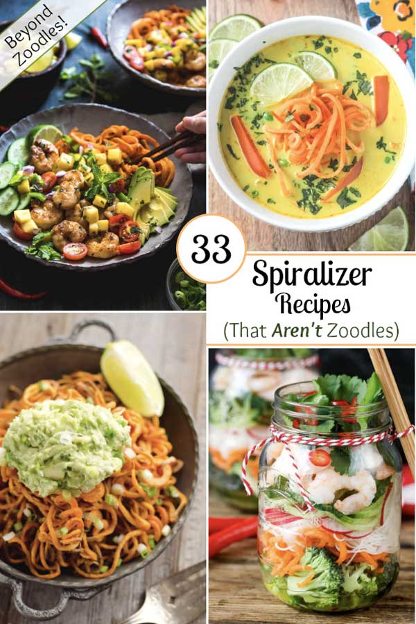 Looking for easy, healthy recipes that are fun and delicious, too? Then break out that spiralizer! You can spiralize way more than just zucchini noodles (zoodles)! These spiralizer recipes creatively use vegetables like sweet potatoes and carrots … and even fruits like pears and apples … in a gorgeous line-up of soups, salads, main dishes and desserts! Bonus: your family will love all the fun curlicues! | #spiralizer #healthyrecipes #spiralized #spiralizerrecipe | www.TwoHealthyKitchens.com