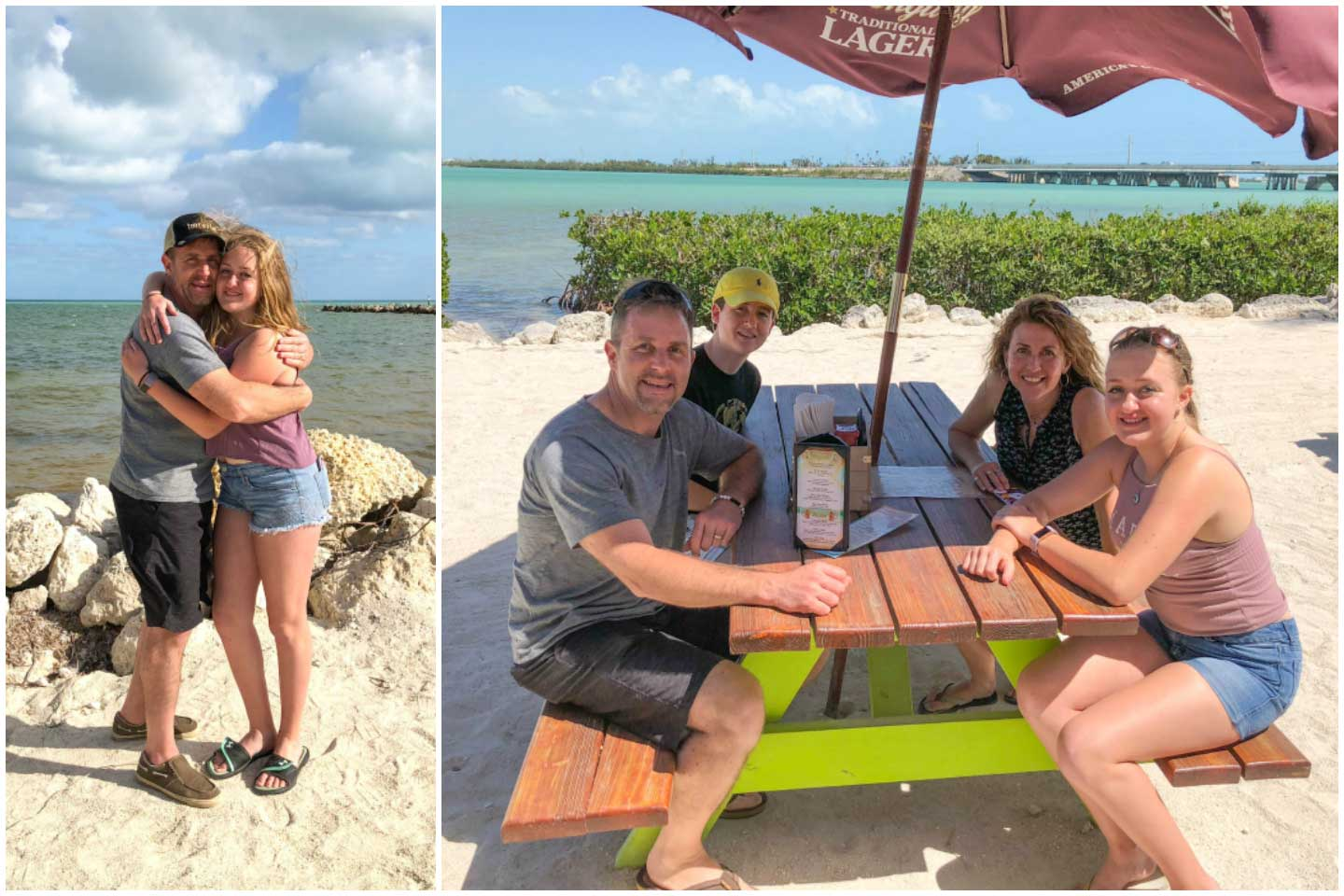 Collage of our family in the Florida Keys - one photo of daddy and daughter happily hugging each other on the beach, and another photo of our family seated at an ocean-side restaurant picnic table.