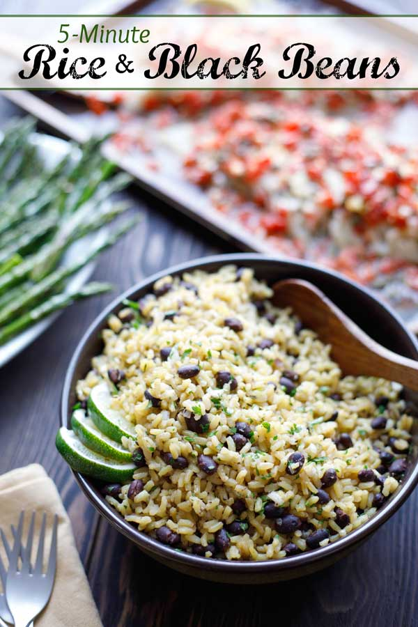 So quick and easy – it'll be your new go-to side dish! Our Easy Rice and Beans recipe is a super-fast take on black beans and rice, with pantry staples you can keep on hand. Ready in 5 minutes - you can even prep it ahead! Terrific with grilled meats, broiled fish, or to soak up delicious sauces … and with Mexican food or Cuban meals, too! Plus - easy tips to customize its flavors! Try it tonight! #sidedish #easyrecipe #healthyrecipes #brownrice #blackbeans #rice | www.TwoHealthyKitchens.com