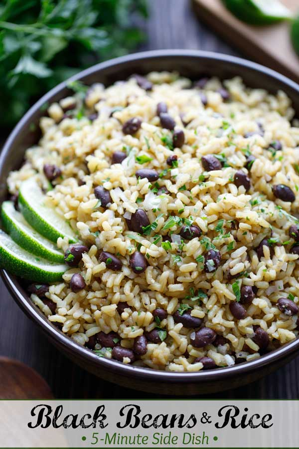 Totally adaptable and so easy! Meet your new go-to side dish! This Rice and Beans recipe is a fast take on classic black beans and rice, with pantry staples you can keep on hand. Ready in 5 minutes - you can even prep it ahead! Delicious with meat and fish, or to soak up sauces … and with Mexican food or Latin-inspired recipes and Cuban meals! Easy tips to customize its flavors, too! Try it tonight! #sidedish #easyrecipe #healthyrecipes #brownrice #blackbeans #rice | www.TwoHealthyKitchens.com