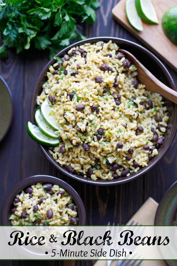 Your new go-to side dish! This Easy Rice and Beans recipe uses just a few pantry staples, and it's ready in 5 minutes (you can even prep it ahead)! Absolutely perfect alongside grilled meats, broiled fish, or to soak up delicious sauces! Terrific with Mexican or Latin-inspired meals, too! Plus we've got easy tips to quickly adapt it for whatever main course you're making! Try it tonight! #sidedish #easydinner #easyrecipe #healthyrecipes #brownrice #blackbeans #rice | ww.TwoHealthyKitchens.com
