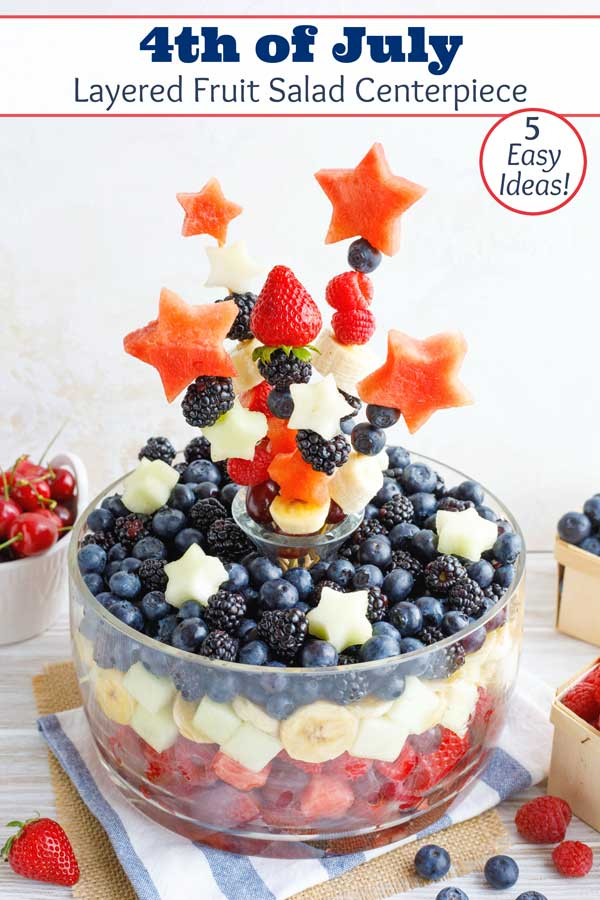Easy DIY tips! A Fruit Bouquet Centerpiece + a delicious fruit salad … all in one! A hit at summer parties - from Memorial Day and 4th of July, to Labor Day and Flag Day! Plus, we've got 4 other patriotic fruit salad ideas (all decked out in Red, White and Blue)! Choose from super-basic to full on WOW factor, depending on how much time you have! | #DIY #centerpieces #4thofJuly #fourthofjuly #picnic #patriotic #IndependenceDay #fruit #salad #bouquet #kabobs #partyfood | www.TwoHealthyKitchens.com
