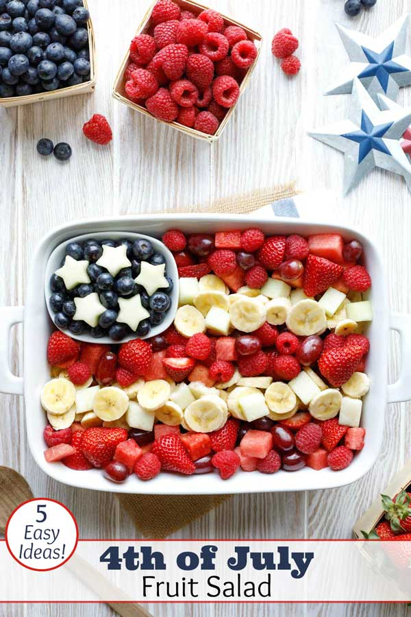 So easy – with tips! Get the simple tricks for quickly making this American Flag Fruit Salad recipe, plus 4 more patriotic fruit salad ideas (all decked out in Red, White and Blue)! A definite hit at summer parties - from Memorial Day and 4th of July, to Labor Day and Flag Day! Great summer party ideas! This easy flag salad recipe is perfect for barbecues, cookouts and potlucks! | #bbq #recipe #partyfood #4thofJuly #fourthofjuly #picnic #patriotic #IndependenceDay | www.TwoHealthyKitchens.com