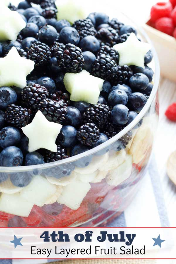 Easy WOW factor! Simple directions for making this layered fruit salad recipe, plus 4 more fruit salad ideas, all decked out in Red, White and Blue! Sure to be a hit at all your summer parties - from Memorial Day and 4th of July, to Labor Day and Flag Day! Choose from our super-basic patriotic fruit salad ... to a fruit flag and even fruit salad centerpieces! Great summer party ideas!| #summer #partyfood #4thofJuly #fourthofjuly #picnic #patriotic #IndependenceDay | www.TwoHealthyKitchens.com