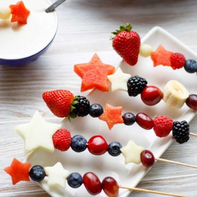 Red, White and Blue Fruit Kabobs (2 Ways – Appetizer or Dessert!)