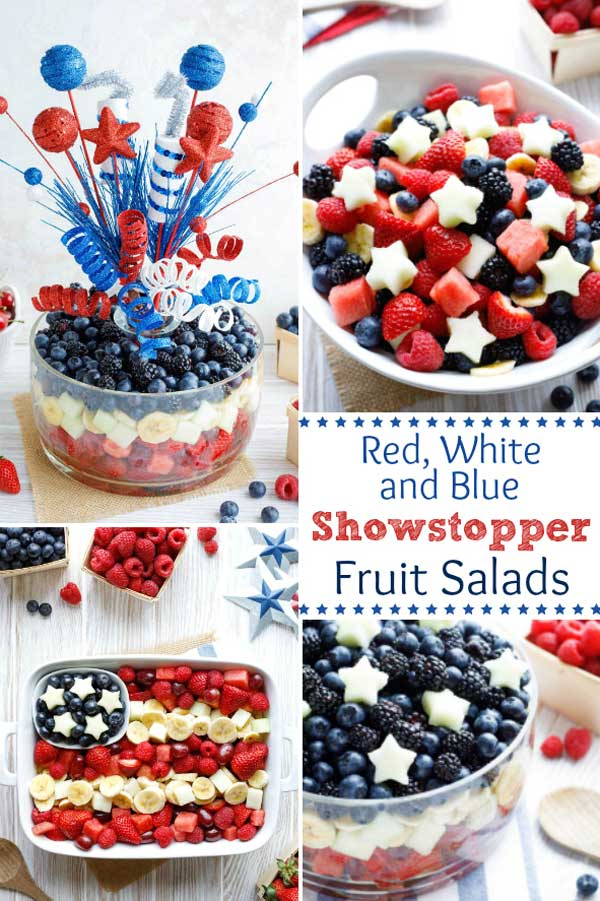 Easy Showstoppers with lots of tips and tricks to guide you! These Red, White and Blue Fruit Salads will be a hit at all your summer parties - from Memorial Day and 4th of July, to Labor Day and Flag Day! Lined up from the most basic ... to full on WOW factor - choose which easy fruit salad recipe to make, depending on how much time you've got! Make a layered fruit salad, flag fruit salad, even a fruit bouquet centerpiece! #4thofJuly #fourthofjuly #picnic #patriotic | www.TwoHealthyKitchens.com