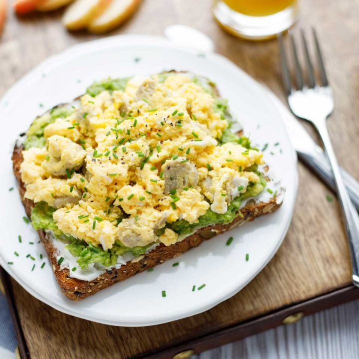 Breakfast Avocado Toast with Egg and Sausage