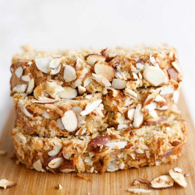 Healthy Hawaiian Banana Bread with Pineapple, Coconut and Almonds