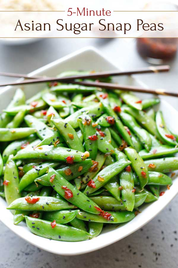 So easy, so versatile! This quick Asian Sugar Snap Peas recipe is ready in just 5 minutes – a perfect side dish for busy nights! Try it with flank steak or roasted chicken, simple broiled salmon, and definitely with Asian-themed main dishes. It's also absolutely delicious chilled, and it rewarms beautifully, so it's a great make-ahead recipe for meal prep! Give this easy side dish a try – it's a keeper! | #peas #sidedish #easyrecipe #healthyrecipes #TwoHealthyKitchens | www.twohealthykitchens.com