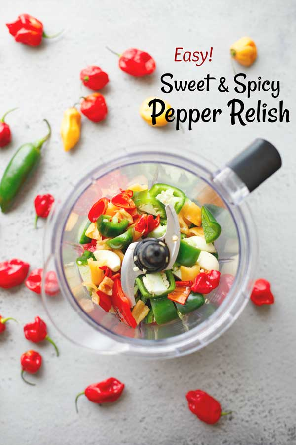 Love hot peppers? Then this Sweet and Spicy Pepper Relish is a must-try – it's quickly become legendary! You'll eat it on practically EVERYTHING! Even people who say they don't like spicy foods LOVE it! This hot pepper relish is quick and easy to make and freezes great – so it's also an ideal homemade gift idea for the holidays, or for teacher and hostess gifts! Whip up a batch today … it's awesome! | #DIY #gifts #homemade #freezer #recipe #makeahead #chilipepper | www.TwoHealthyKitchens.com