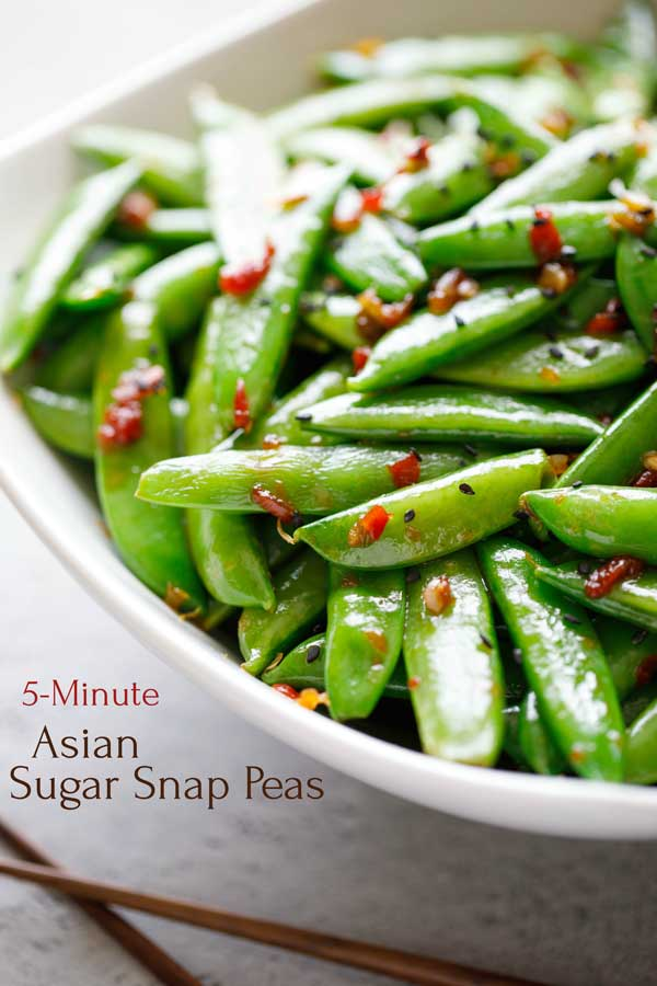 Super-easy and ready in just 5 minutes! This Asian Sugar Snap Peas recipe is a perfect side dish for busy nights! Try it with flank steak or roasted chicken, simple broiled salmon, and definitely with Asian-themed main dishes. These peas are also absolutely delicious chilled, and they rewarm beautifully, so they're a great make-ahead recipe for meal prep! Give this easy side dish a try – it's a keeper! | #peas #sidedish #easyrecipe #healthyrecipes #TwoHealthyKitchens | www.twohealthykitchens.com