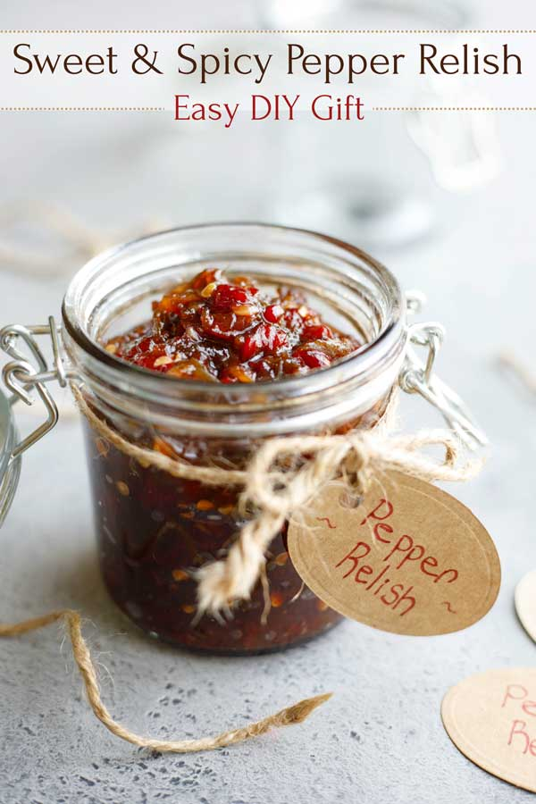 An easy DIY gift they'll LOVE! This Sweet and Spicy Pepper Relish is quick and easy to make and freezes great – an ideal homemade gift idea for the holidays, or for teacher and hostess gifts! And seriously … this hot pepper relish recipe has quickly become legendary! You'll eat this on practically EVERYTHING! Even people who say they don't like spicy foods LOVE it! Whip up a batch today … it's awesome! | #DIY #gifts #homemade #freezer #recipe #makeahead #relish | www.TwoHealthyKitchens.com