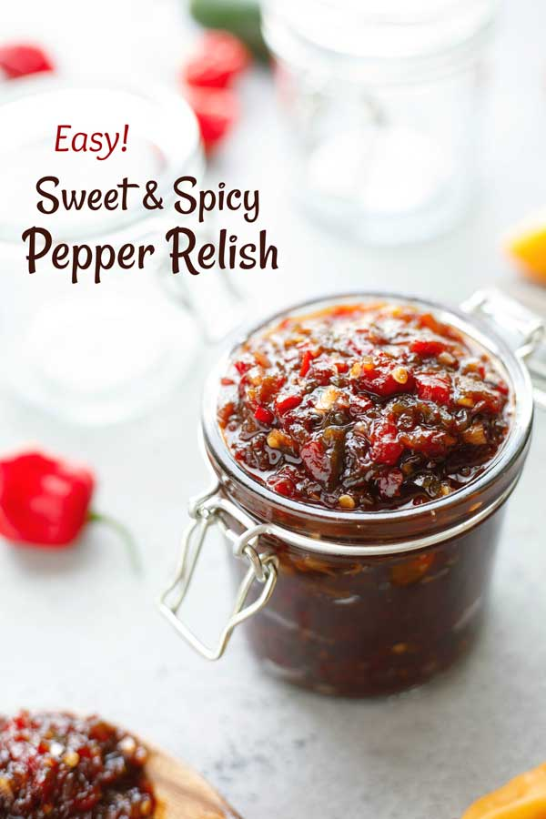 You'll eat this on practically EVERYTHING … burgers, eggs, veggies, crackers … This Sweet and Spicy Pepper Relish recipe has become legendary! Even people who say they don't like spicy foods LOVE it - plus we've got plenty of ideas for customizing the recipe and toning down the heat. This hot pepper relish is quick and easy to make and freezes great – a perfect DIY gift idea! Whip up a batch today … it's awesome! | #DIY #gifts #homemade #freezer #recipe #makeahead | www.TwoHealthyKitchens.com