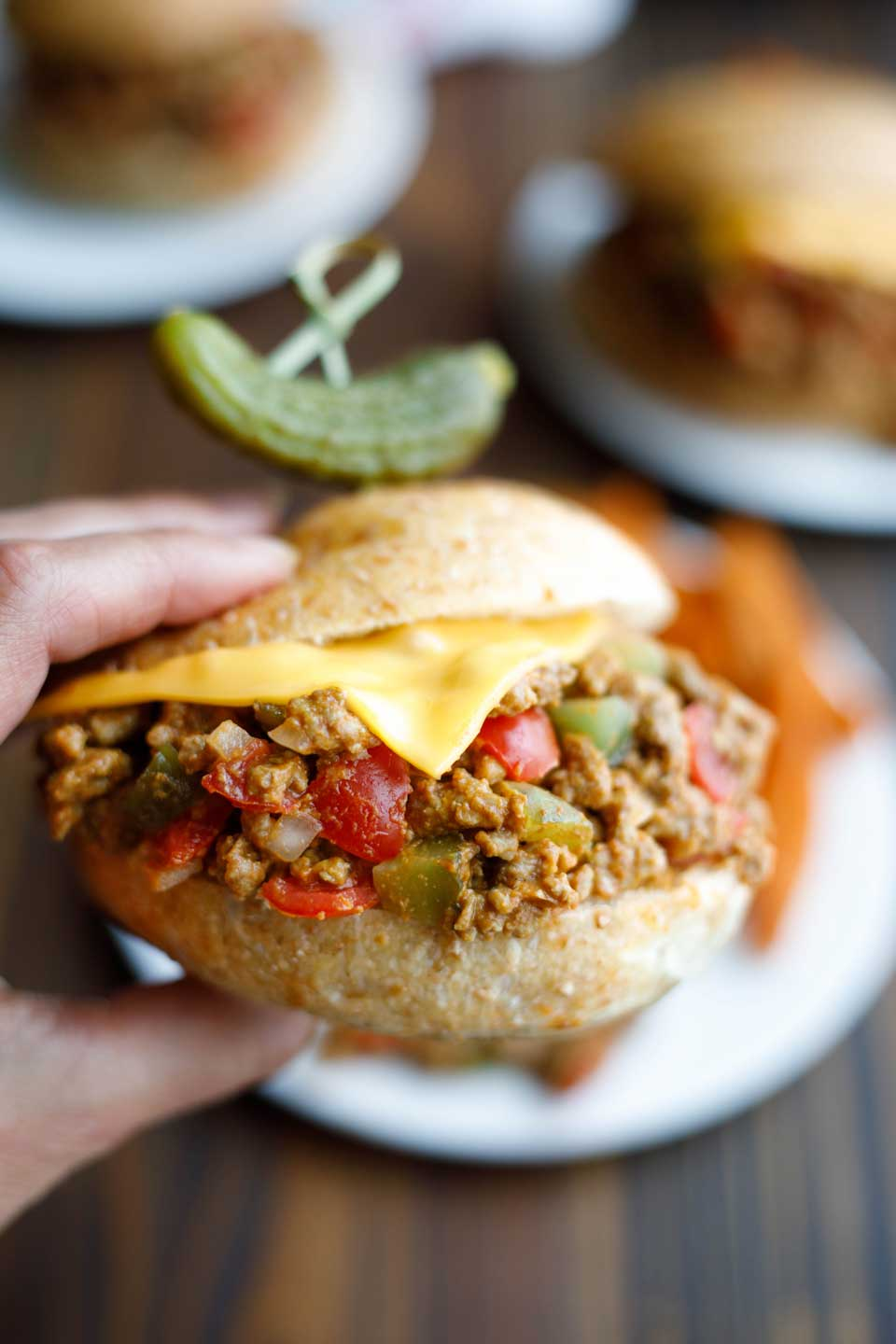 Easy Cheeseburger Sloppy Joes with Sweet Pickle