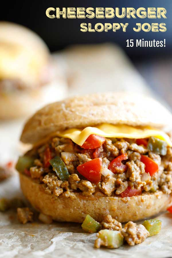 Ready in 15 minutes and sooooo good! These Cheeseburger Sloppy Joes are a deliciously fun twist on two dinnertime favorites – juicy cheeseburgers meet easy sloppy joes in a quick and easy dinner recipe your whole family will love! BONUS: you can make this sloppy joe recipe ahead for meal prep for the week, or even freeze the beef mixture! | sloppy joes easy | easy healthy dinner | freezer meals | make ahead meals | ground beef recipes | skillet meals | #groundbeef | www.TwoHealthyKitchens.com