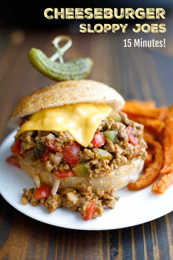 A 15-minute dinner your whole family will LOVE! All the satisfying flavors of a beefy, juicy cheeseburger, combined with the lightning-fast simplicity of sloppy joes! BONUS: If you like to menu plan, you can make this sloppy joe recipe ahead for meal prep for the week, or even freeze the beef mixture! | favorite recipes | easy healthy dinner | freezer meals | make ahead meals | ground beef recipes | sloppy joe recipe easy | skillet meals | #groundbeef #cheeseburger | www.TwoHealthyKitchens.com