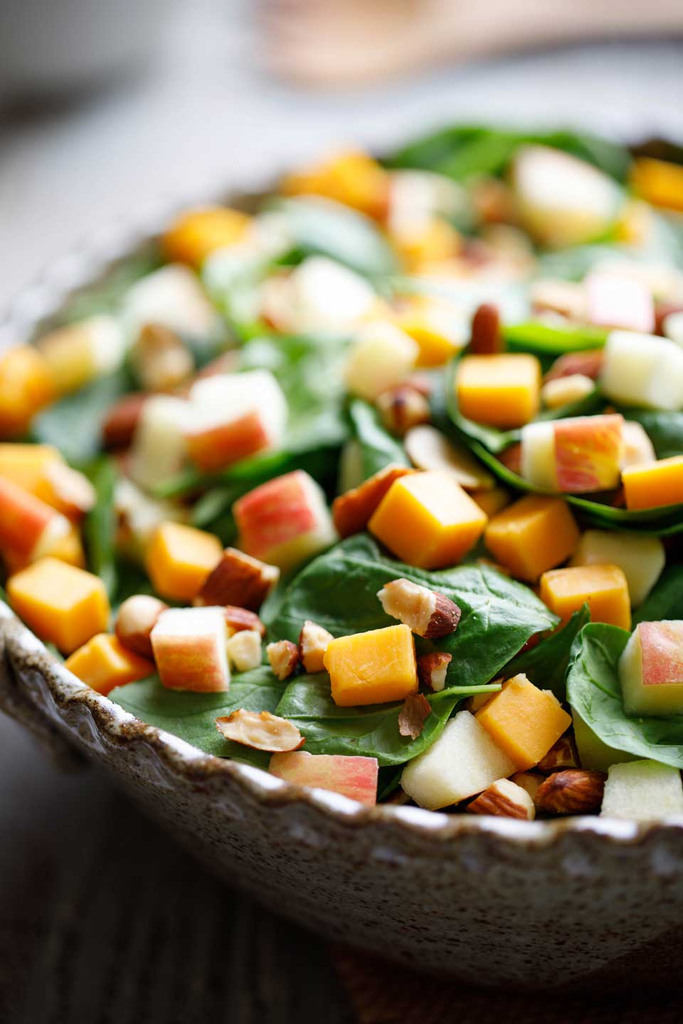 Spinach Salad with Apple, Cheddar and Smoked Almonds Recipe
