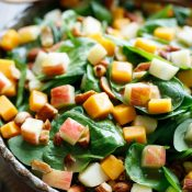 Spinach Salad with Apple, Cheddar and Smoked Almonds