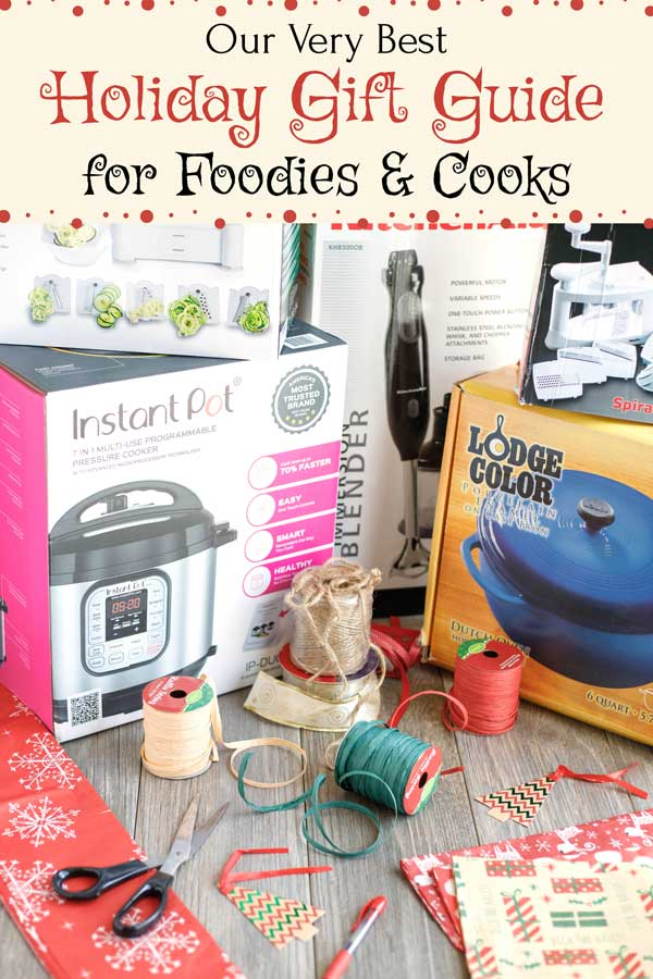 """From big-ticket """"WOW!"""" items to fun stocking stuffers and DIY hostess gifts... and everything in between. These gift ideas for cooks and foodies are all tried-and-true things we love, use, and have gifted to the special people on our own family holiday list. Tried and true suggestions for cooking gifts that just might help you get un-stuck if you simply can't think of what on earth to buy this year!   holiday gifts   gift guide   Christmas gifts   Christmas shopping   www.TwoHealthyKitchens.com"""