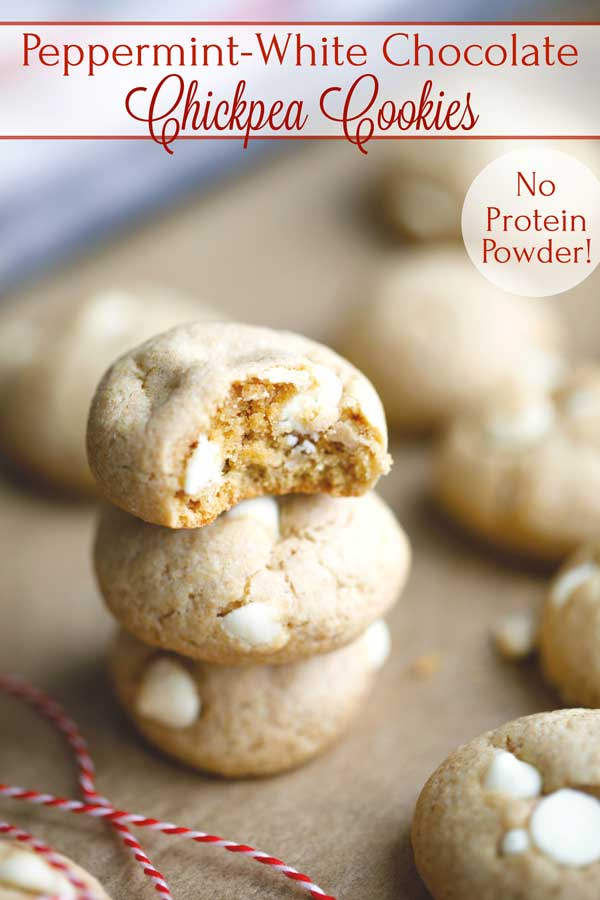 "Want a protein cookie with whole foods instead of protein powders? Give these Peppermint-White Chocolate Chickpea Cookies a try! They magically replace most of the butter in ""typical"" cookie recipes with a clever chickpea puree that adds nutritious protein and fiber! But they're still buttery, chewy and satisfying (just like a ""normal cookie"")! 