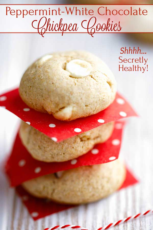 "Surprise! Buttery, deliciously chewy and satisfying (just like a ""normal cookie""), but so much healthier! These Peppermint-White Chocolate Chickpea Cookies magically replace most of the butter in ""typical"" cookie recipes with a clever chickpea puree for extra protein and fiber! Try them and see how fantastic a healthier cookie can taste! 