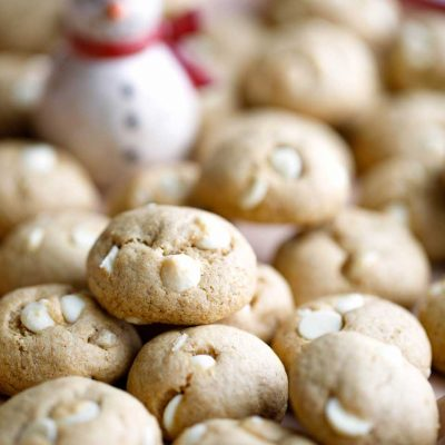 Peppermint-White Chocolate Chickpea Cookies