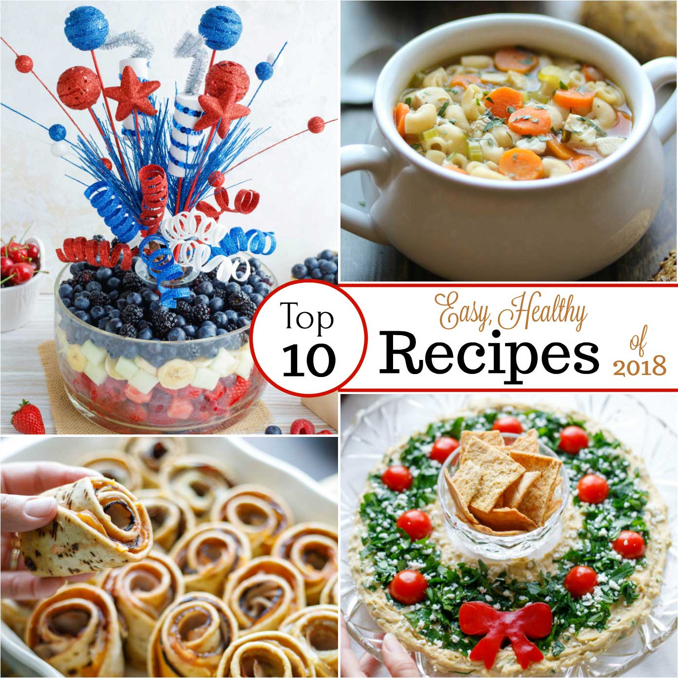 Easy, healthy recipes your whole family will love! These favorite recipes are absolute must-tries – our most popular recipes of an entire year! From our smash hit Rotisserie Chicken Noodle Soup to scrumptiously lighter Baked Party Sandwiches and showstopper Fruit Salads … and even a pretty, edible Christmas Wreath! These treasured, best recipes are healthy and delicious, and so quick and easy, too! Check out our most popular recipes of 2018, and find your own faves! | www.TwoHealthyKitchens.com