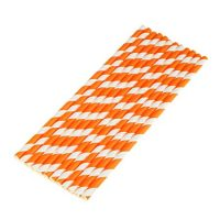 Orange & White Biodegradable Paper Straws