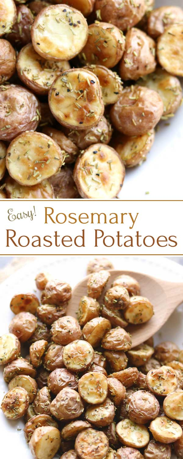 So easy ANYTIME! These delicious Rosemary Roasted Potatoes are perfectly crisped, lightly browned outside … fluffy inside. They're a terrific side dish recipe for casual burgers and roasted meats, or dinner party filet or salmon! Try them once, and they'll become your new go-to side! Plus, we've got loads of tips for flawless roasted red potatoes, every single time! | vegetarian | vegan | gluten free | roasted potatoes | red potato recipes | roasted vegetables | www.twohealthykitchens.com