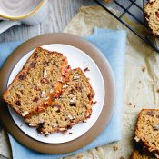 Healthy Whole Wheat Banana Bread with Pecans and Dates