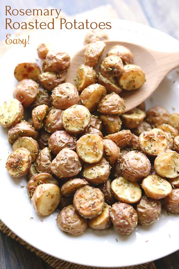 A go-to side dish that's perfect paired with practically any meal! These delicious Rosemary Roasted Potatoes are terrific with casual burgers and baked chicken … or with dinner party filet or salmon. Plus, they're easy to throw together with just a few ingredients you can keep on hand! Check out our tips for perfectly roasted red potatoes … and these are sure to be a new favorite! | vegetarian | gluten free | roasted potatoes | red potato recipes | roasted vegetables | www.twohealthykitchens.com