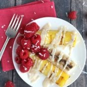 Grilled Tropical Fruit with Almond-Ricotta Sauce