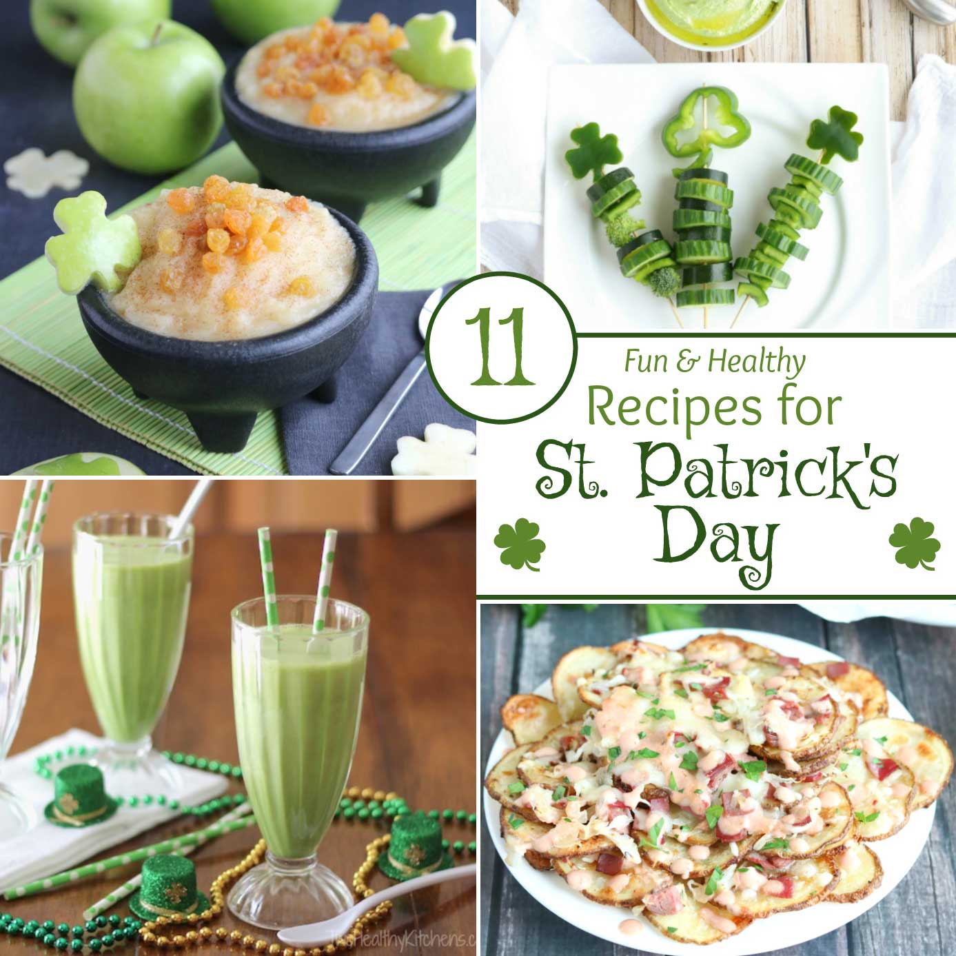 "Easy, super-fun St. Patrick's Day recipes that just happen to be healthier, too (but don't worry … nobody will notice the ""healthy"" part)! Lots of creative recipe ideas - from a beloved Reuben Dip to scrumptious Irish Nachos … from a healthy Shamrock Shake recipe to fun foods that are filled with rainbows and pots of lucky gold! Whimsical ideas for the kids, plus great appetizers and snacks that adults will devour at parties! 