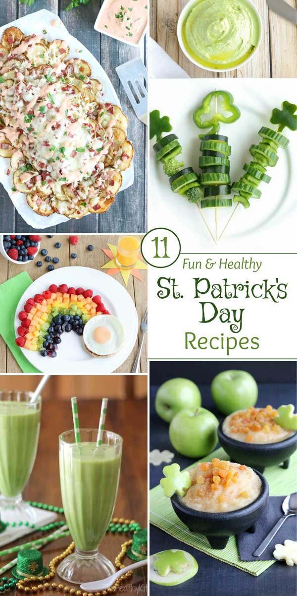 """Easy, super-fun St. Patrick's Day recipes that just happen to be healthier, too (but don't worry … nobody will notice the """"healthy"""" part)! Lots of creative recipe ideas - from a beloved Reuben Dip to scrumptious Irish Nachos … from a healthy Shamrock Shake recipe to fun foods that are filled with rainbows and pots of lucky gold! Whimsical ideas for the kids, plus great appetizers and snacks that adults will devour at parties! 