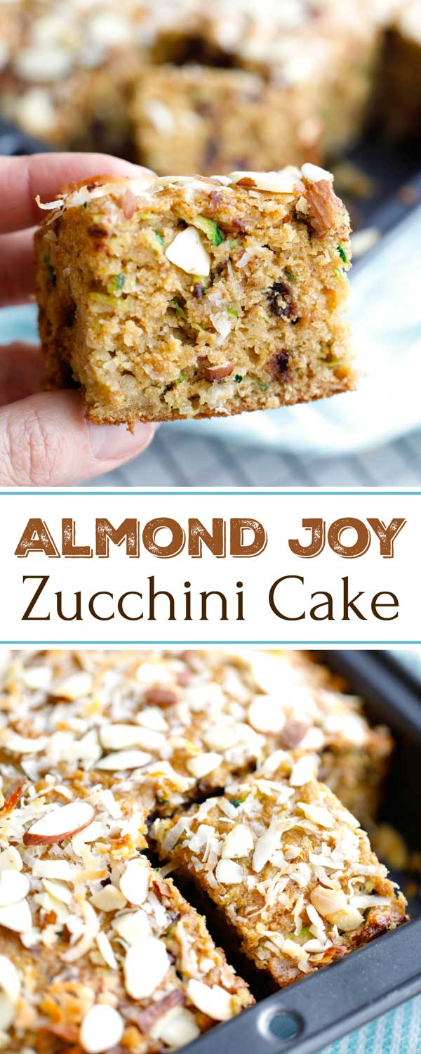 The beloved flavors of an Almond Joy candy bar … in a decadently moist and tender Zucchini Cake! If you love zucchini bread, you've absolutely gotta try this recipe! It's full of the vanilla-almond, coconut, and chocolate flavors you love, and it's actually much healthier too (but don't worry – no one will ever know)! Nutritious enough for an afternoon snack … but indulgent enough for dessert! | zucchini recipes healthy | almond joy cake | almond joy bars | www.TwoHealthyKitchens.com