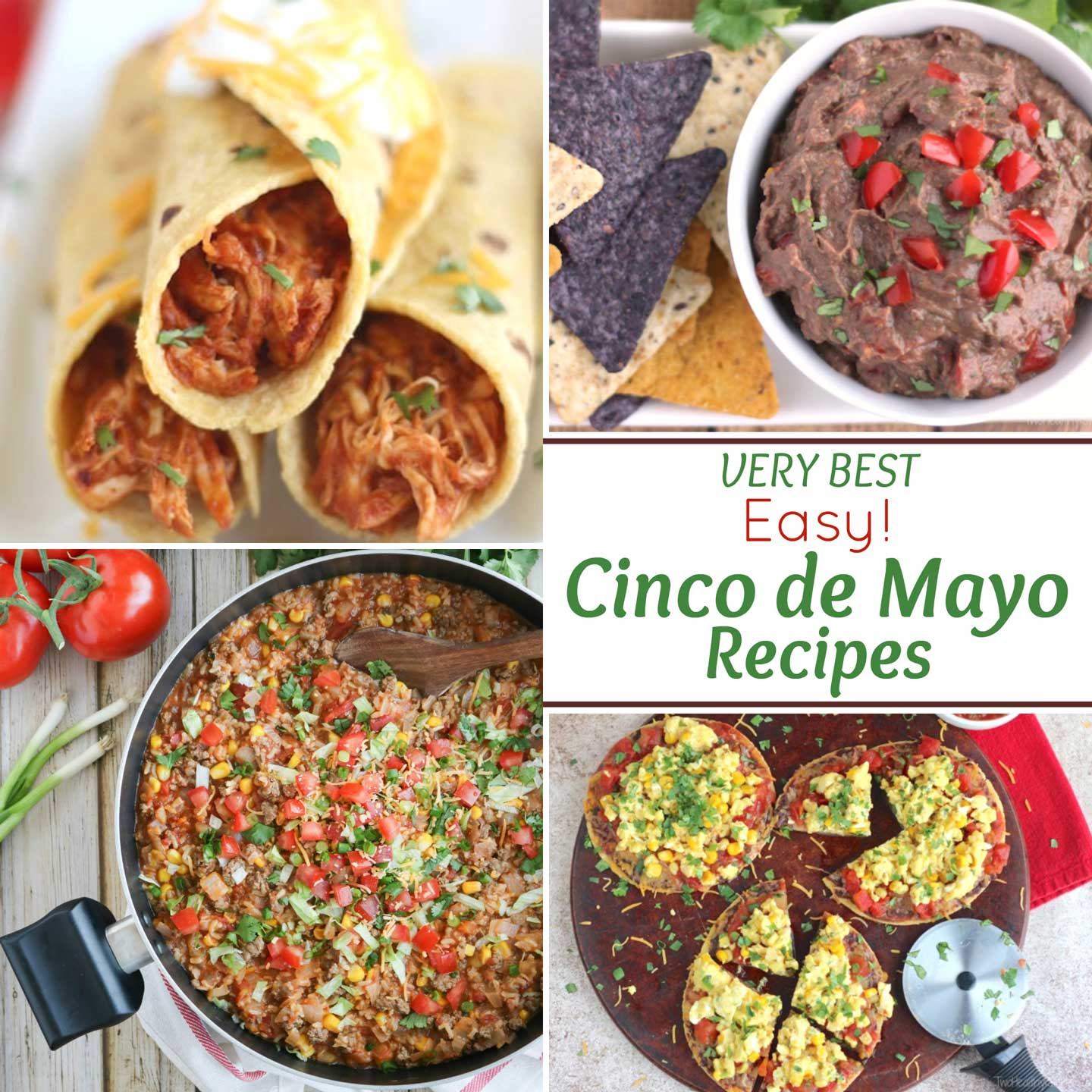 Fun inspiration for EASY Cinco de Mayo recipes! Perfect for quick family meals or for big Cinco de Mayo parties! From easy taco recipes ... to more unique twists to change things up a little! So many great ideas! We've got make-aheads and slow cooker recipes, fast appetizers and even Mexican-inspired burgers! Grab your piñata and a Mariachi band, and let the party begin! | cinco de mayo party ideas food | cinco de mayo recipes easy | tacos | Mexican food recipes | www.TwoHealthyKitchens.com