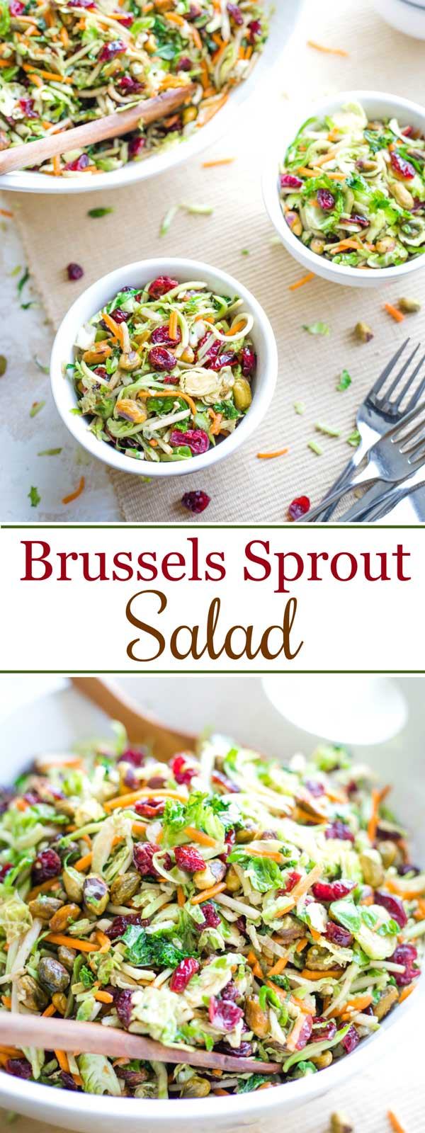 collage of two salad photos: one with Brussel sprout salad in individual serving bowl, and one with it in a large serving bowl